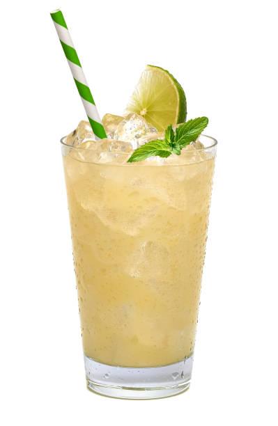 유리에 레몬 조각으로 레모네이드 - 얼음 조각 뉴스 사진 이미지