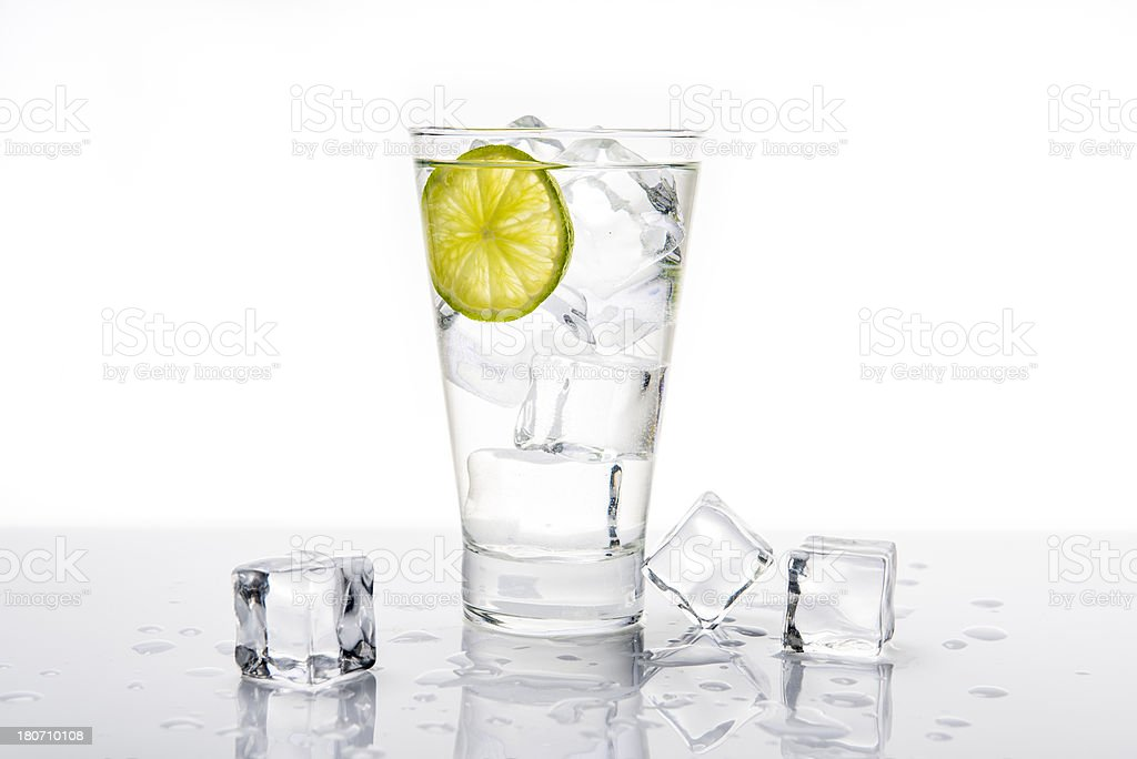 Lemonade with lime and ice royalty-free stock photo