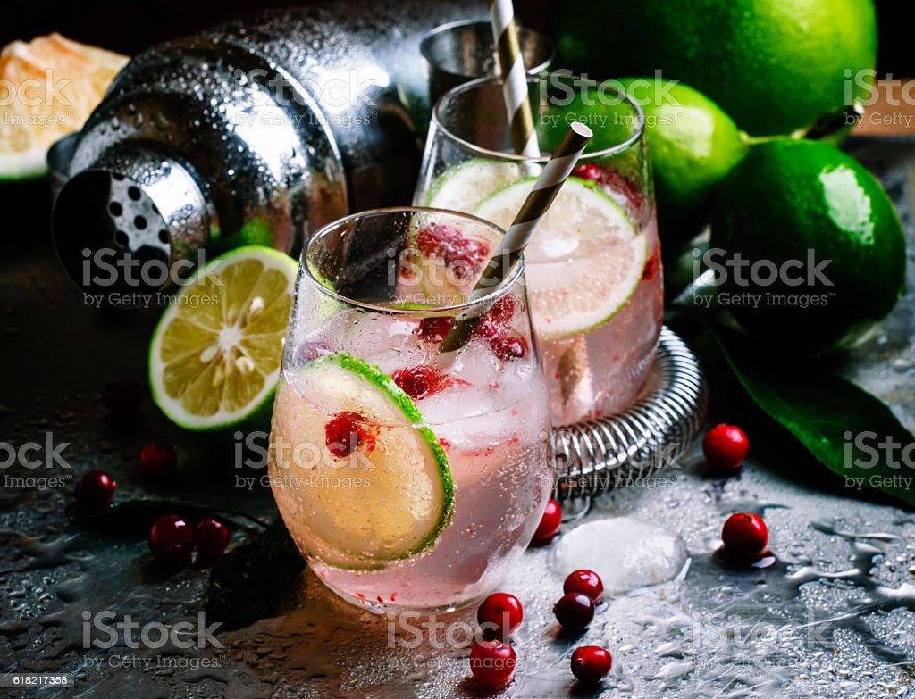 Lemonade with lymom, cranberries stock photo
