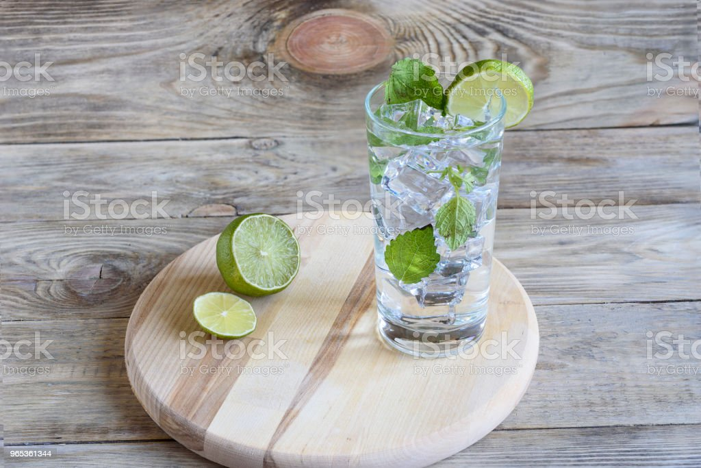 Lemonade with mint leaves and a slice of lime zbiór zdjęć royalty-free