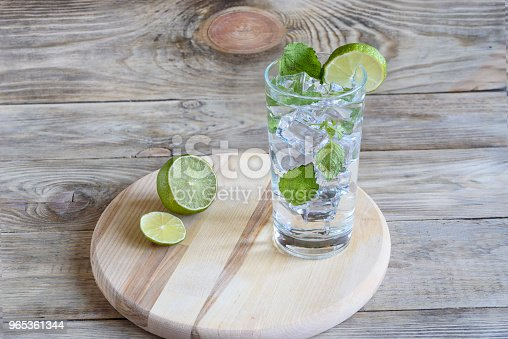 Lemonade With Mint Leaves And A Slice Of Lime Stock Photo & More Pictures of Bright