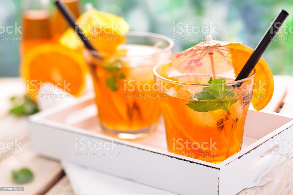 Lemonade with oranges. stock photo