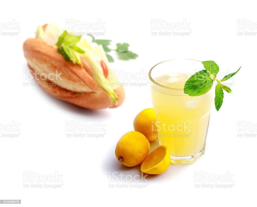 Lemonade with sandwich stock photo