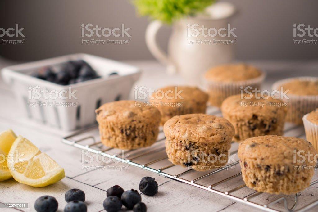 Lemon-Blueberry Muffins stock photo