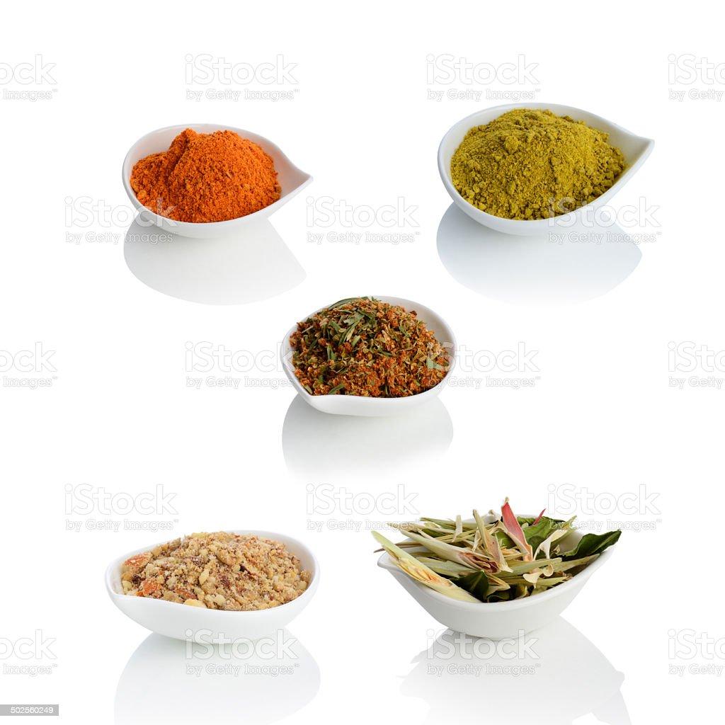 Lemongrass, cashew nut, chilli powder and Thai herb royalty-free stock photo