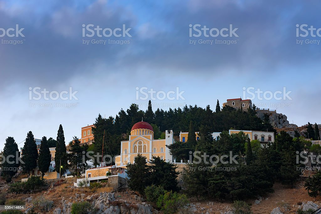 lemonitissa church at Symi stock photo