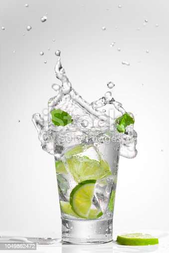 Splashing clear cold drink with lime and mint. It could be vodka, gin or white rum cocktail, as well as simply water, lemonade or lemon soda. Front view. Copy space.