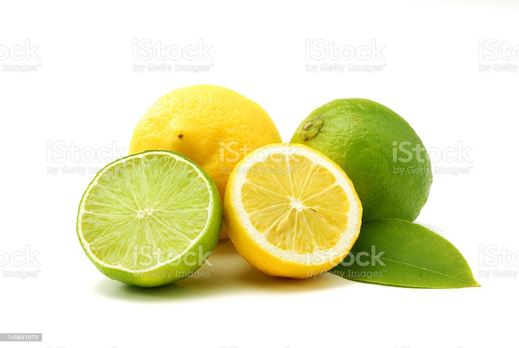 Lemons and green limes stock photo