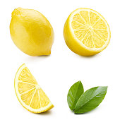Collection of lemons and leaves, isolated on white background
