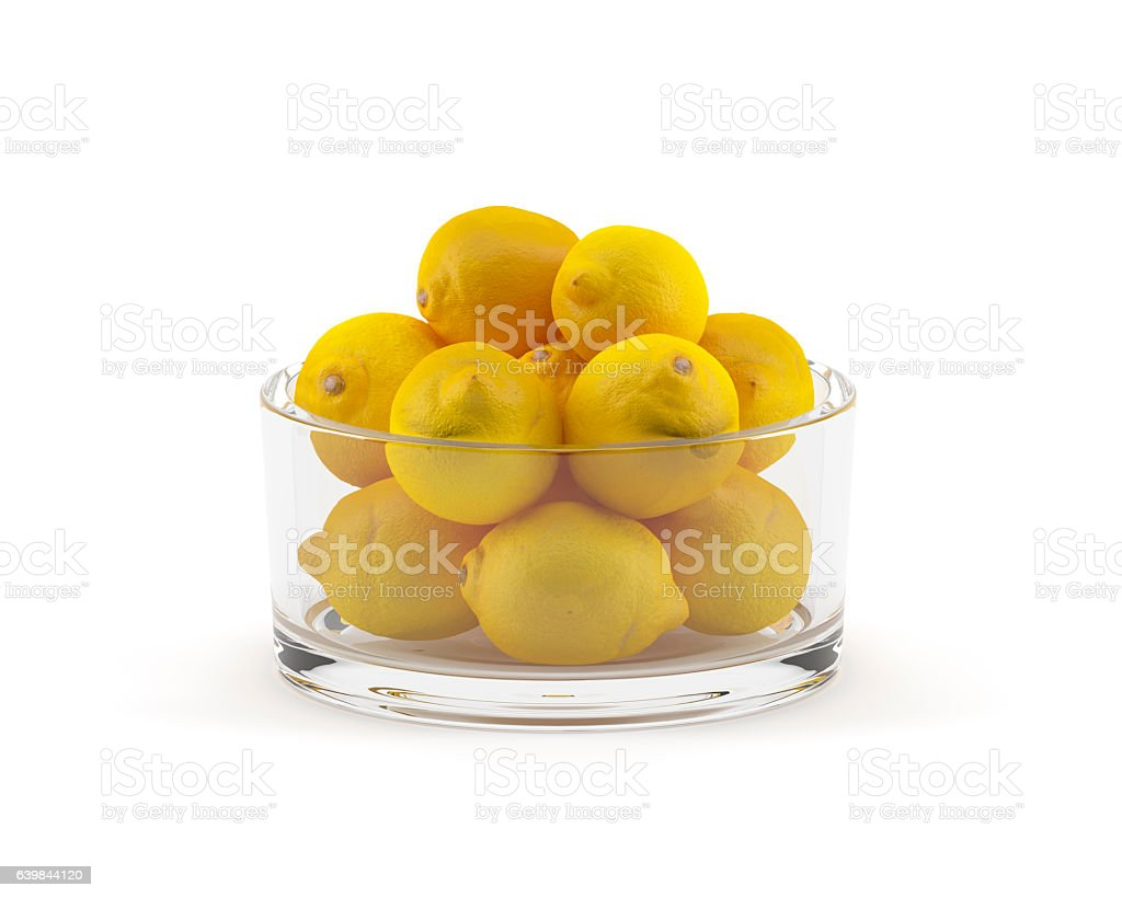 Lemons In a Glass Bowl Isolated On White Background stock photo