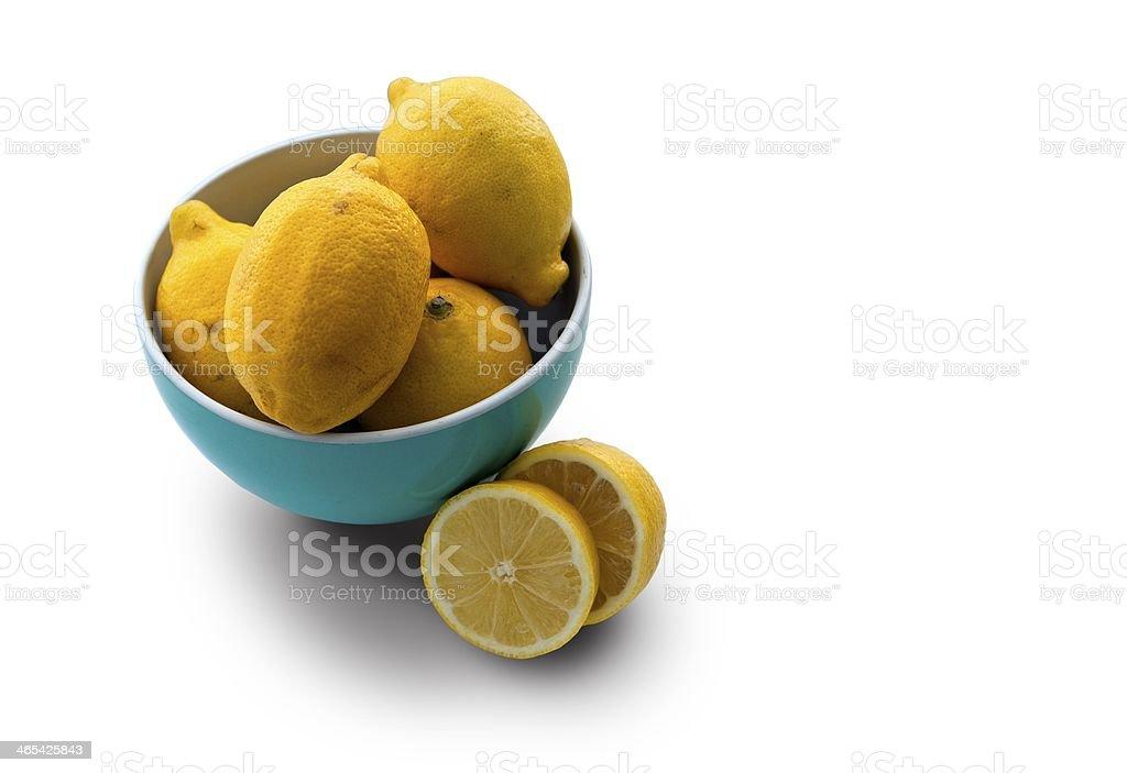 Lemons in bowl stock photo