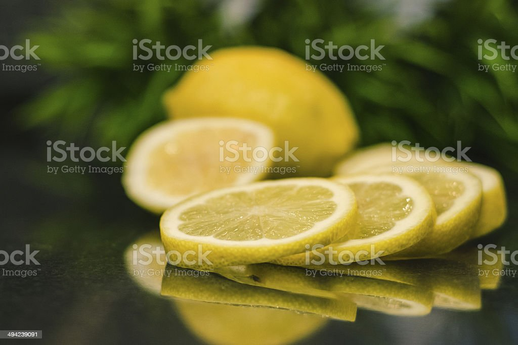 lemons in kitchen stock photo