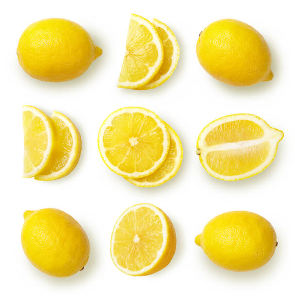 lemons isolated on white background. - cząstka zdjęcia i obrazy z banku zdjęć