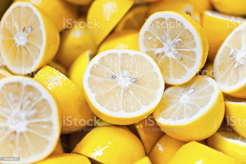 lemons sliced stock photo