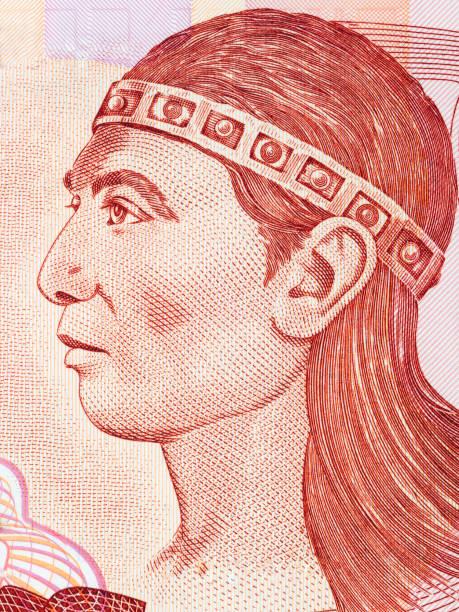 retrato de lempira (regla lenca) - bandera de honduras fotografías e imágenes de stock