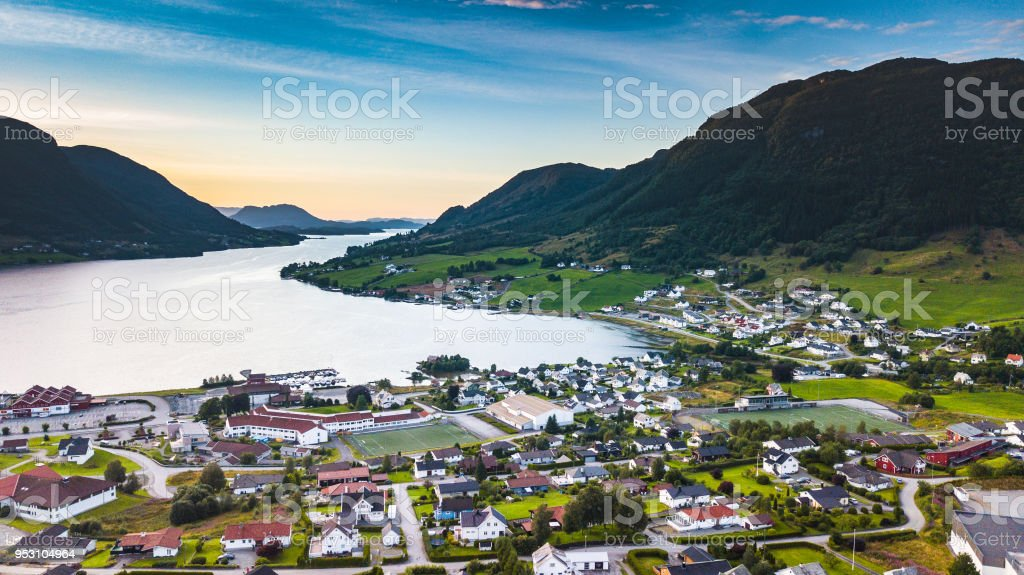 Ølen city stock photo