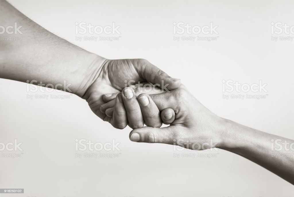 Lending a helping hand. stock photo