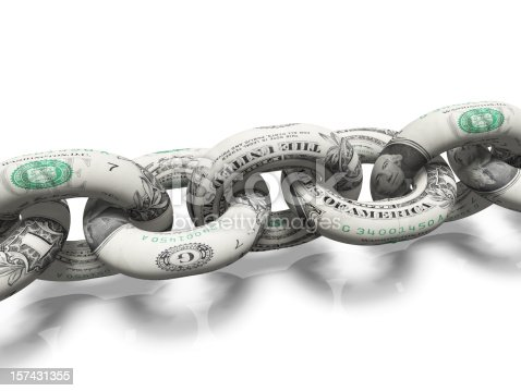 A chain made from dollar bills on a white background.