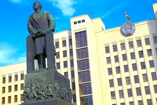 istock Lenin and Belarussian Parliament - Independence square in Minsk, Belarus 481444050