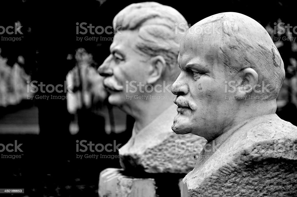 Lenin and Stalin Statue in Moscow stock photo