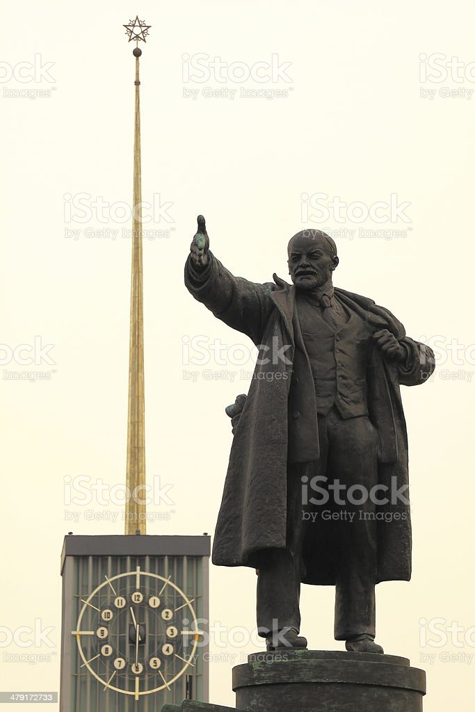 Lenin communist statue close-up at the Finland Train Station, Russia stock photo