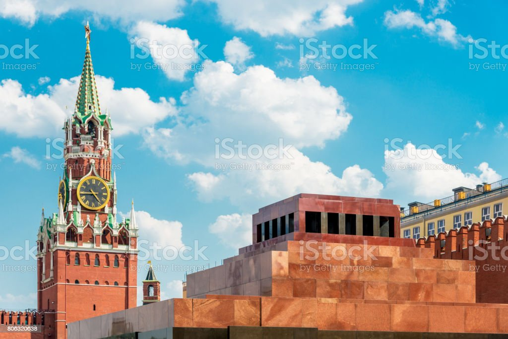 Lenin Mausoleum and Spasskaya Tower Red Square Moscow Russia stock photo
