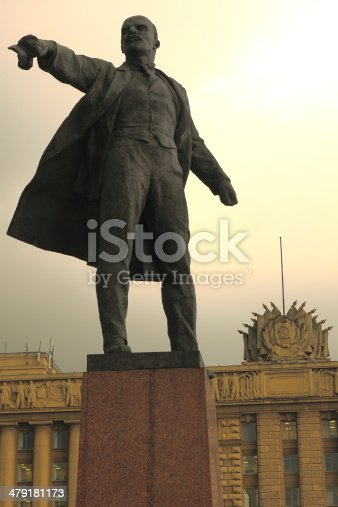 Lenin in the foreground of Moscow Square with the House of Soviets in the background. St. Petersburg, Russia.