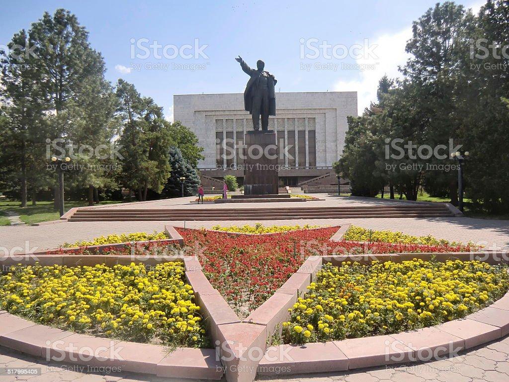 Lenin statue in Bishkek stock photo