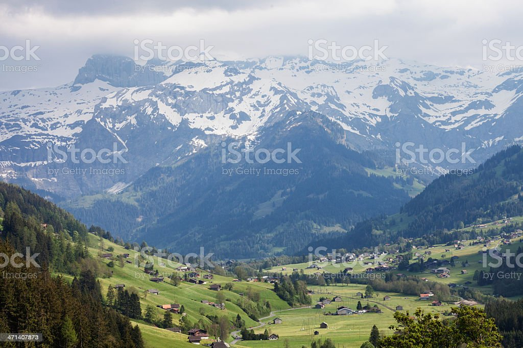 Lenk Valley and Wildstrubel Mountains, Spring stock photo