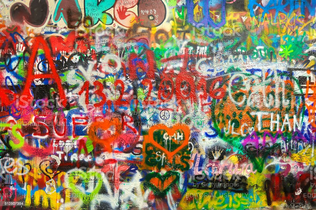 Lennon wall stock photo