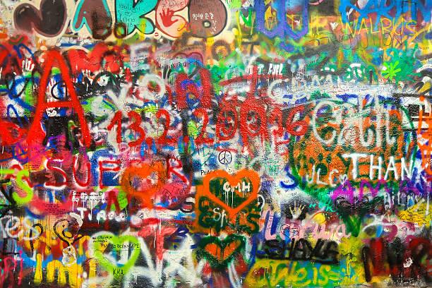 Lennon wall stock photo