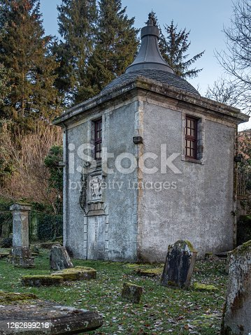 Lennox Mausoleum at Campsie Glen Built around 1714, the Lennox Family vault is situated in St Machan's graveyard at Clachan of Campsie where some of the graves date back to the fifteenth century. Members of the Kincaid-Lennox family are buried beneath the Mausoleum.