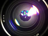Lens aperture blades.