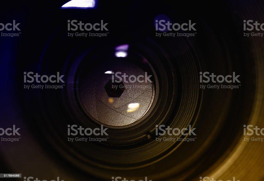 lens aperture closeup and reflexes