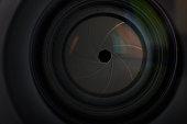 Lens aperture hole in digital camera close up view