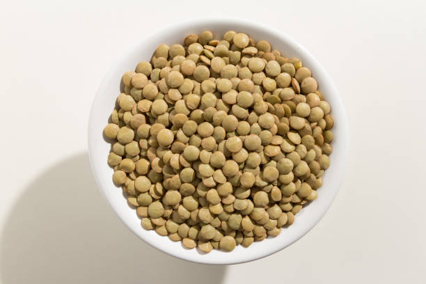 Lens culinaris is scientific name of Lentil legume. Also known as Lentilha Canadense (portuguese) or Lentejas (spanish). Top view of grains in a bowl. White background. stock photo