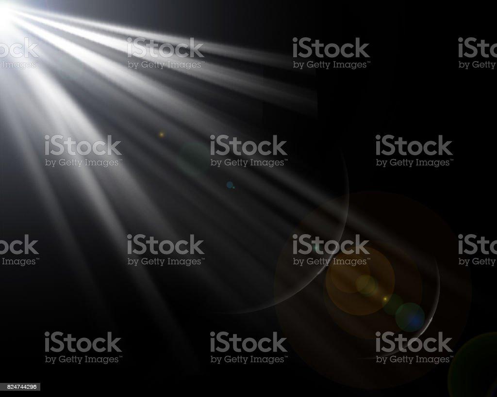 Lens Flare Black Background. stock photo