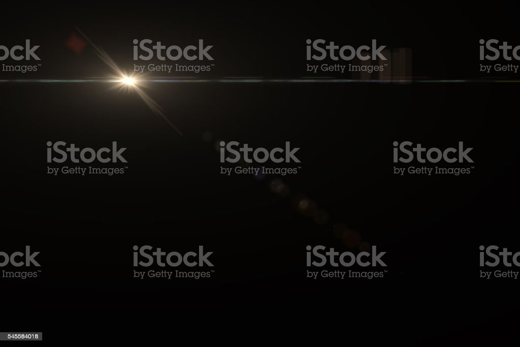 Lens Flare Bokeh on Black Background stock photo