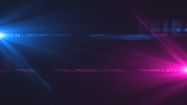 Lens flare. Cinematic background with digital flashes of light on the sides. Template with bright glow on dark. Good for using in trailer or intro and video production. 3d rendering Lens flares electric light stock pictures, royalty-free photos & images