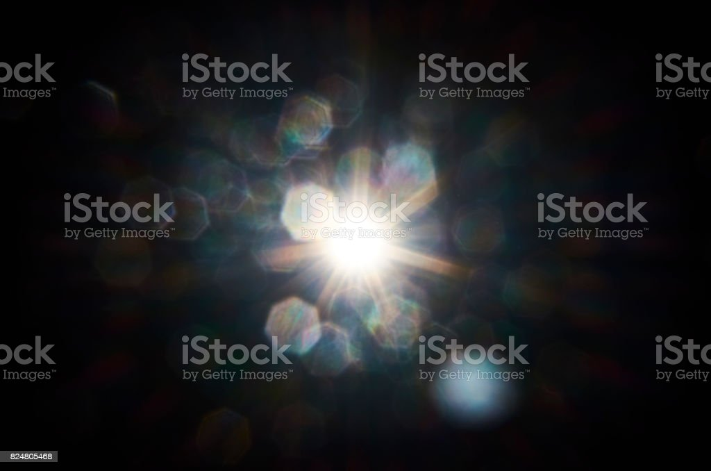 Lens flare generated by flash stock photo