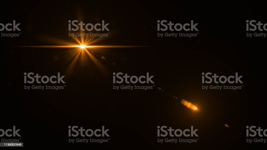 Lens Flare Glow Light Effect On Black Background Easy To Add