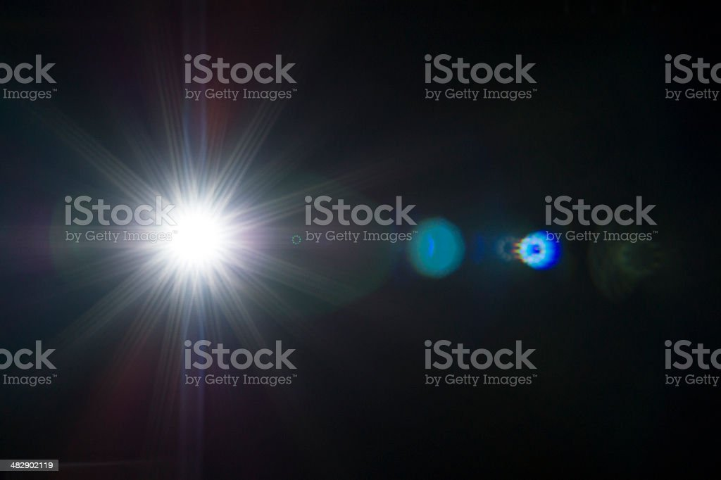 Lens Flare on black background stock photo
