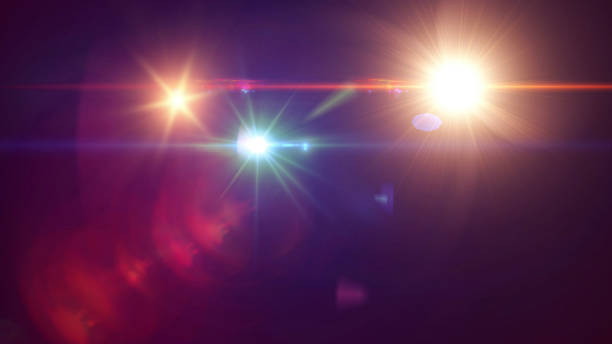 Lens Flare Lens Flare, Black Background, Light - Natural Phenomenon, Sunbeam, Star - Space spot lit stock pictures, royalty-free photos & images