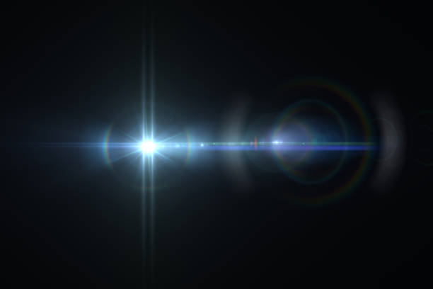 lens flare, space light, abstract black background - music style stock pictures, royalty-free photos & images
