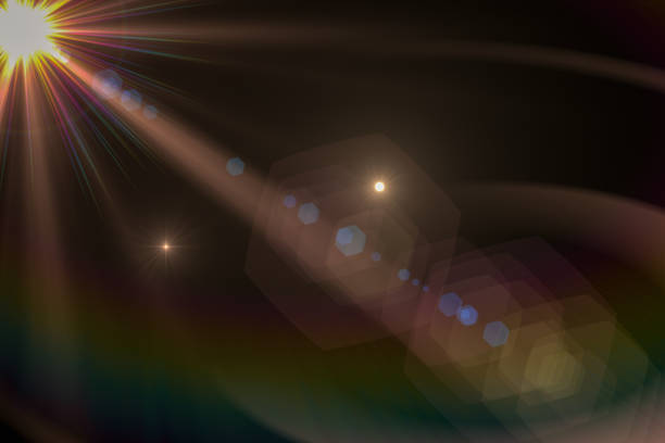 Lens Flare, Space Light, Sun Light, Abstract Black Background stock photo