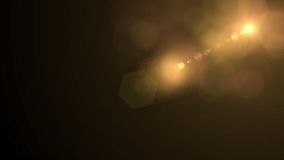 Lens Flare on Black Background, Solar Energy, Abstract, Sun light.