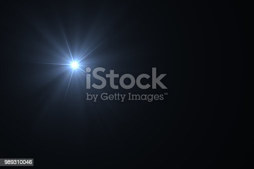 Lens Flare, Sun Light on Black Background, Solar Energy.
