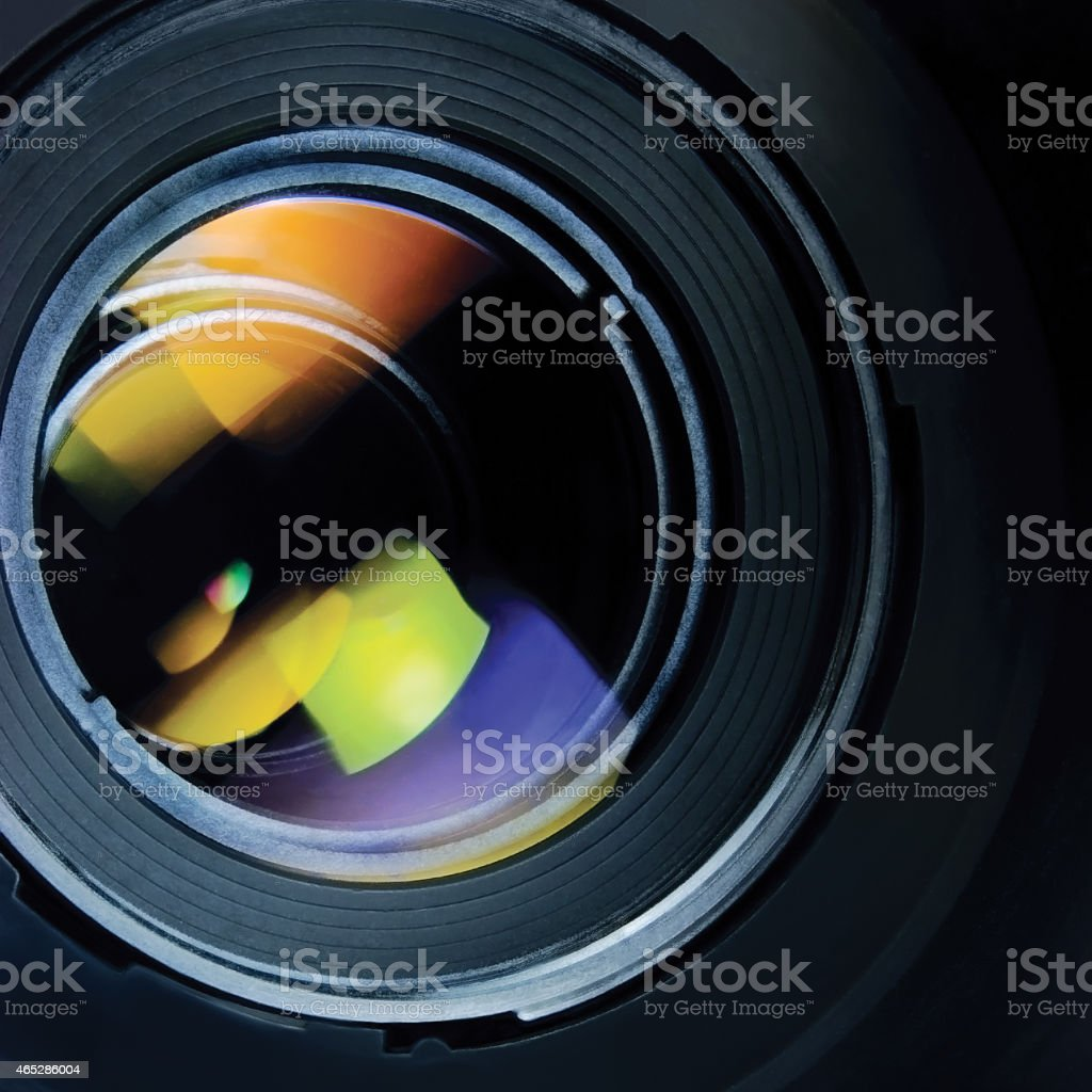 Lens hood large detailed macro zoom closeup, black, green, blue stock photo