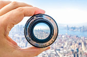 Lens image dslr manhattan downtown city new york hand