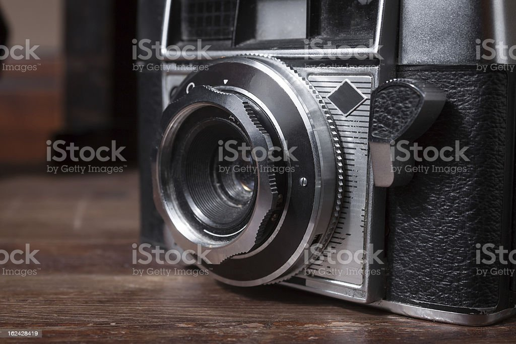 Lens of a vintage camera royalty-free stock photo